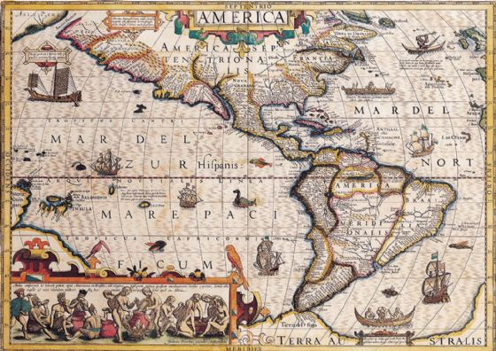 Hondius, Jodocus: Map of the Americas. Antique/Vintage 17th Century Map. Fine Art Print/Poster. Sizes: A4/A3/A2/A1 (003902)